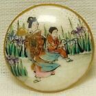 Antique 19TH C Japanese SATSUMA Pottery Button Hand Painted ARTIST Signed W151