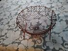 Vintage WIRE EGG GATHERING BASKET PRIMITIVE COLLAPSIBLE FARM COUNTRY FRENCH RED