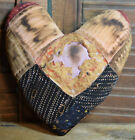 Primitive Small Quilt Heart Valentine Bowl Filler Cupboard Tuck Coffee Stained