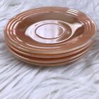 Fire King Peach Luster Saucer Plate Set of 4 Three Band Vintage Anchor Hawking