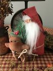 Primitive* Handcrafted* Santa w/Gingerbread Man* Ornies Shelf Sitter* Christmas*