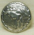 Antique VINTAGE Button PEWTER Moose with Mountains *A71