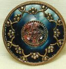 Antique VINTAGE Button Ornate Blue Celluloid  in Brass with Jewels *A76