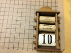 Vintage Original -Early wooden Calendar Wall Hang with paper loops missing cover