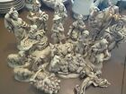 Vintage Atlantic Mold Large 17 Pc Ivory  Gold Nativity set gorgeous