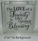 Love of a Family Decal sticker for 8 Glass Block Shadow Box
