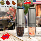 2x Electric Pepper Salt Grinder Mill Stainless Steel Automatic Battery Operated