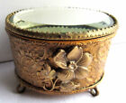 French Box oval padded jewelry, Napoleon III gilt brass and beveled mirror