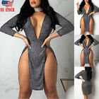 Sexy-Women-Sequin-Deep V-Bandage-Bodycon-Evening-Party-Cocktail-Club-Mini-Dress