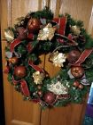 Vintage Christmas Grapevine Wrap 18 Wreath Red Gold ribbon gold leafs apples