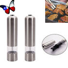2pcs Electric Salt Pepper Grinder Automatic Mill Shakers Stainless Steel Silver