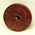Antique VINTAGE Button Small Insiced Vegetable Ivory HORSESHOE Whistle  *A73