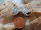 Awesome Sterling Silver Gilt Sky Blue Topaz Two Tone Leverback Ear Rings
