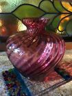 Vintage Pilgrim Glass 8 Bulbous Cranberry Optic Swirl Vase Ribbed Polished Rim