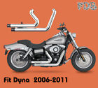 Dual Pipes Muffler Exhaust System C1 Fit HD Dyna 2006 2017 Dyna Wide Glide FXDW