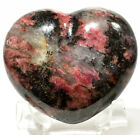 68mm Rhodonite Puffy Heart Natural Sparkling Crystal Polished Stone Madagascar