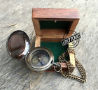 Wooden Box with Compass Push Button Chain Necklace Antique Masterpiece Gift Desk