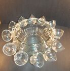 25 Piece Crystal 'Fruit' Pattern Punch Bowl Set W/ 12 cups