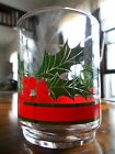 Poinsettia Holly Berry Ivy Tumblers 8 oz Glass Libbey? Anchor Hocking? Red Green