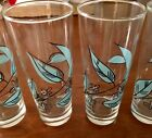 Vintage Aqua Turquoise Blue Leaf Ice Tea Drinking Glasses Set of 4