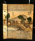 Antique Japanese Painting On Scrapbook Cover ORIGINAL Signed Artwork RARE ITEM!