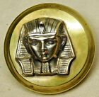 LARGE Antique Vintage Metal Button EGYPTIAN PHAROH Brass High Relief  *J39