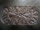 Pair Tiger Oak Embossed Flower Panels Victorian Carved Plaques Furniture Parts