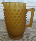 Vintage Amber Satin Glass Hobnail Pitcher 7 5 8 Tall Fenton