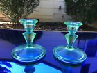 Floral Poinsettia Pair Green Depression Glass Candlesticks 4 Jeannette 1931 35