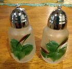 Pepper Shakers Hand Painted Clear Glass