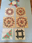 VINTAGE  QUILT Squares Lot of 7 Squares -  Different Designs Hand Pieced