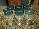 VINTAGE INDIANA GLASS SET OF SIX KING'S CROWN THUMBPRINT BLUE FLASHED SHOTGLASS