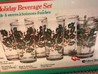 Berries Christmas 6pc Holiday Beverage Set Tumblers In Box
