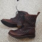 Frye Womens Jenna Disc Lace Up Studded Brown Leather Boots Sz 7B