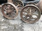 Antique Cast Iron Hit Miss Engine Cart Wheels Coffee Table Industrial Repurpose