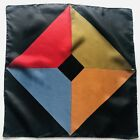Vintage Ashear Five Color Mens Pocket Square 100% Silk -- made in Italy