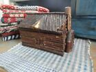 Early Antique Primitive Wood Twig Log Cabin Handmade AAFA Hinged Folk Art