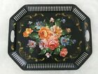 Vintage Tole Painted Metal Serving Tray, Great colored Flowers Large