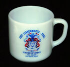 Vintage FORT LEAVENWORTH Federal Milk Glass Coffee Mug Emblem Logo Crest