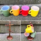Vintage Fire King Coffee Mug Cup Set With Wood Rack Milk Glass D Handle