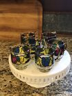 6 Mid Century Libbey Stained Glass Fruit Design Mugs Cups w/ Removable Handles