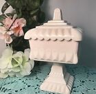 1950s Jeannette Shell Pink Milk Glass Covered Wedding Compote Bowl / Dish