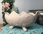 Vintage Jeannette Lombardi Shell Pink Milk Glass Footed Centerpiece Fruit Bowl
