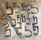 Vintage Heavy Barn Door Hardware Clamps - Primitive Hand Forged - Cast Iron