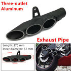 51mm Powerful Motorcycle Exhaust Muffler Pipe Trim Three-outlet Tail Pipe System