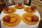 10 Pc Indiana Kings Crown Thumbprint Amber Glass Snack Plates and Cups