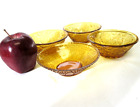 Vintage Amber Glass Bowls Set of 4 Dishes Serving Brown Gold