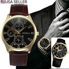 Men's Black and Gold Geneva Stainless Steel Analog Quartz Leather Wrist Watch
