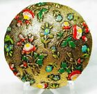 X-Large Antique Button ~ Hand Painted Brass ENAMEL COLORFUL Roses