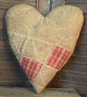 Primitive Quilt Heart Valentine Bowl Filler Cupboard Tuck Coffee Stained Red